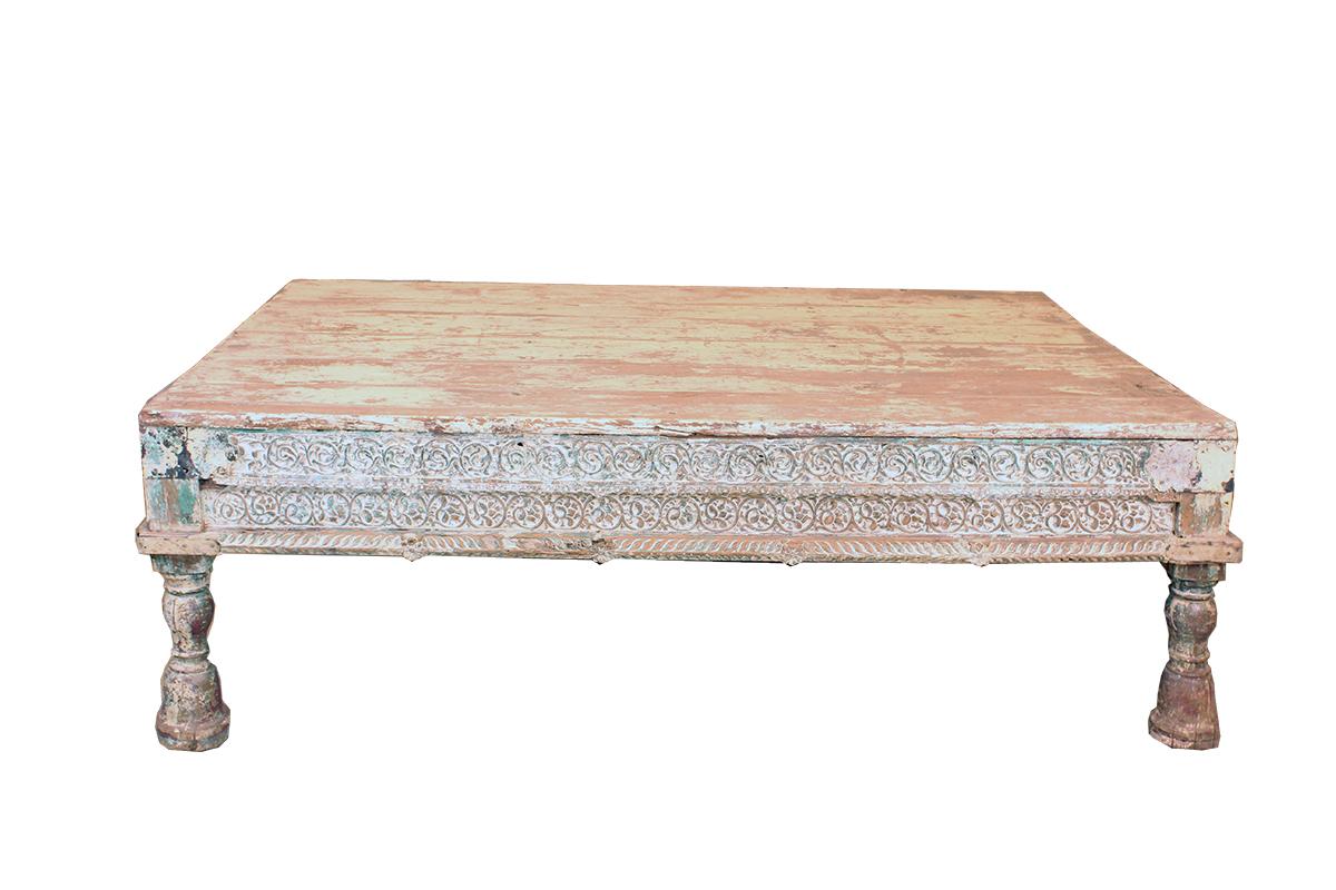 Grote Houten Salontafel uit India Elegante Poten   GUSJ