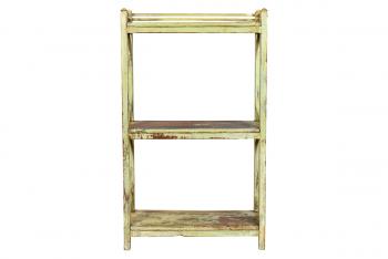 Oud houten opbergrek Ecru / Groen