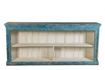 houten boekenkast antiek blauw