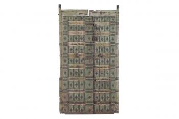 set van 2 groene houten deuren
