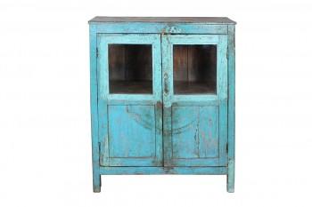 blauwe houten kast