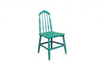houten stoel blauwgroen