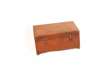 antieke houten geldbox