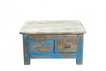blauwe salontafel met 2 lades
